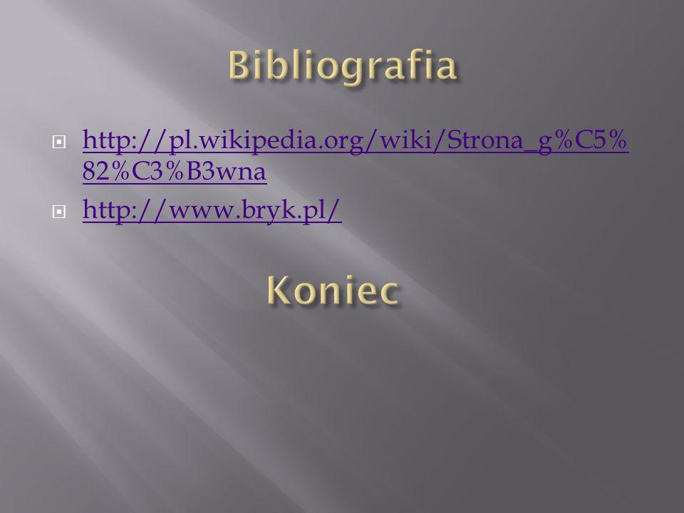 Bibliografia http://pl.wikipedia.org/wiki/Strona_g%C5%82%C3%B3wna http://www.bryk.pl/ Koniec