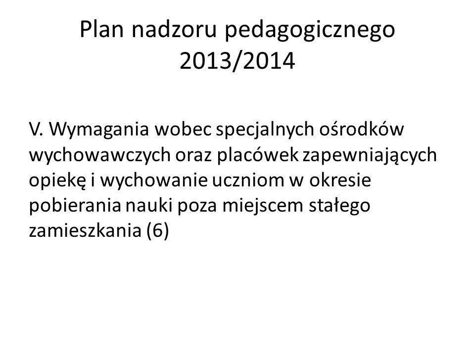 Plan nadzoru pedagogicznego 2013/2014