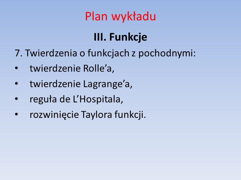Plan wykładu III. Funkcje 7. Twierdzenia o funkcjach z pochodnymi: