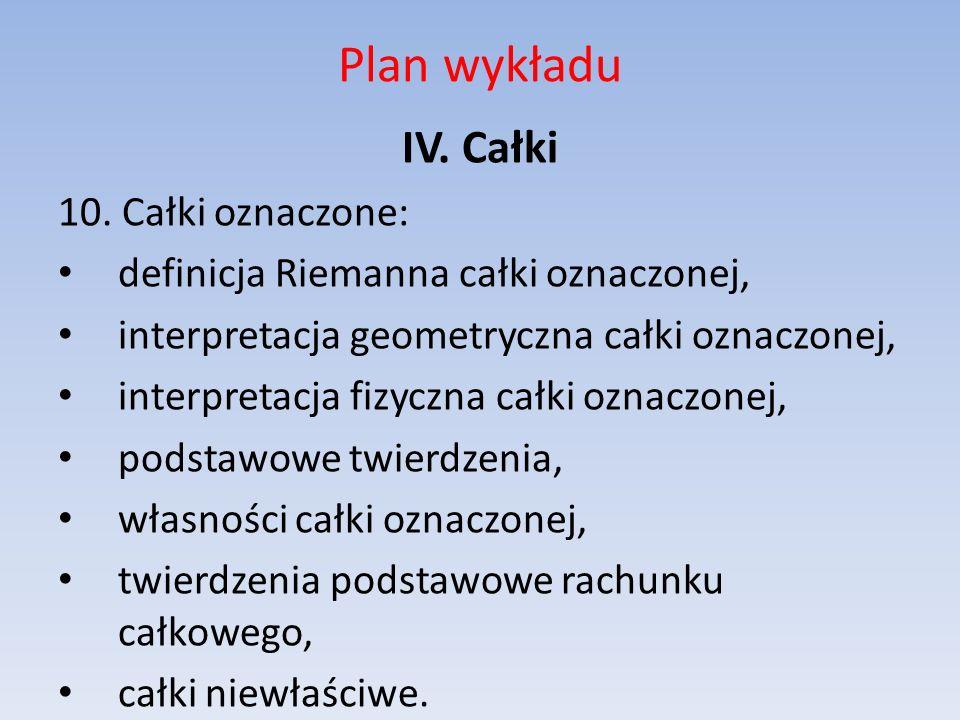 Plan wykładu IV. Całki 10. Całki oznaczone: