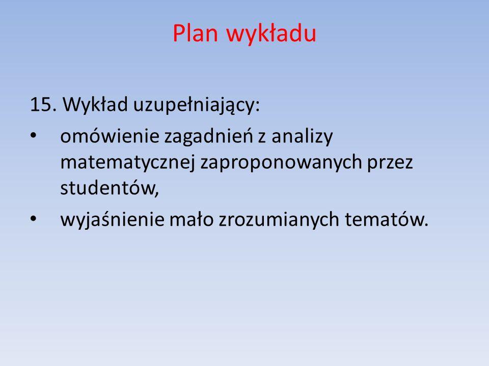 Plan wykładu 15. Wykład uzupełniający: