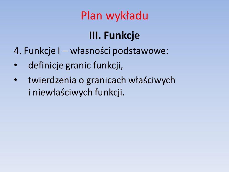 Plan wykładu III. Funkcje 4. Funkcje I – własności podstawowe: