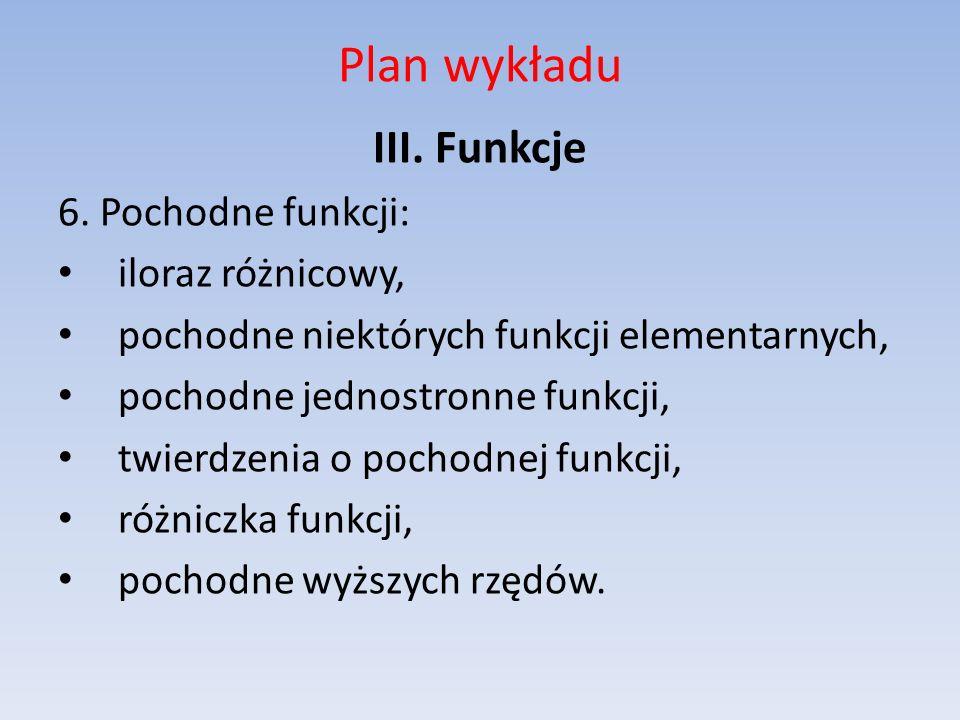 Plan wykładu III. Funkcje 6. Pochodne funkcji: iloraz różnicowy,