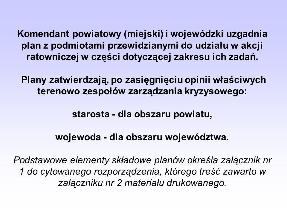 starosta - dla obszaru powiatu, wojewoda - dla obszaru województwa.