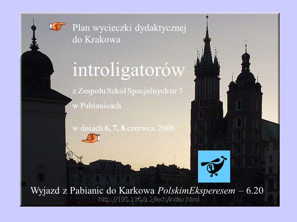 introligatorów Plan wycieczki dydaktycznej do Krakowa