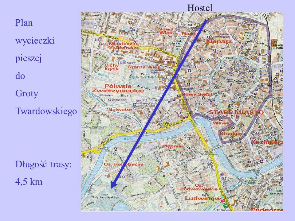 Hostel Plan wycieczki pieszej do Groty Twardowskiego Długość trasy: 4,5 km