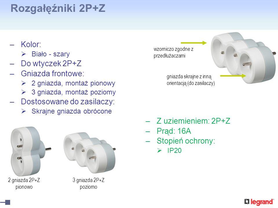 Rozgałęźniki 2P+Z Kolor: Do wtyczek 2P+Z Gniazda frontowe: