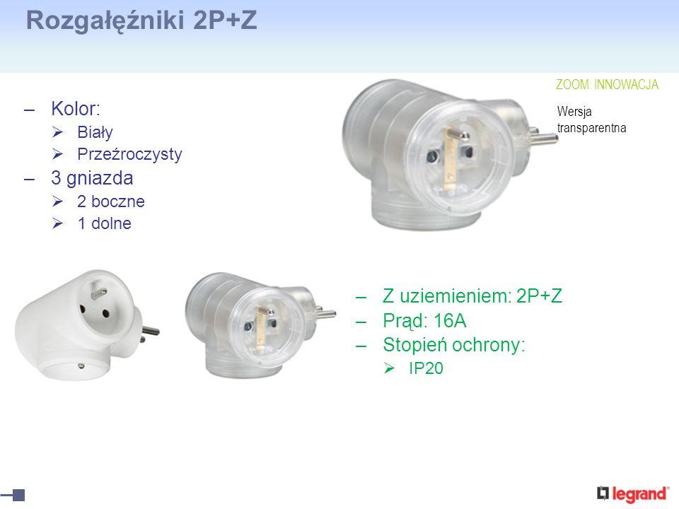 Rozgałęźniki 2P+Z Kolor: 3 gniazda Z uziemieniem: 2P+Z Prąd: 16A