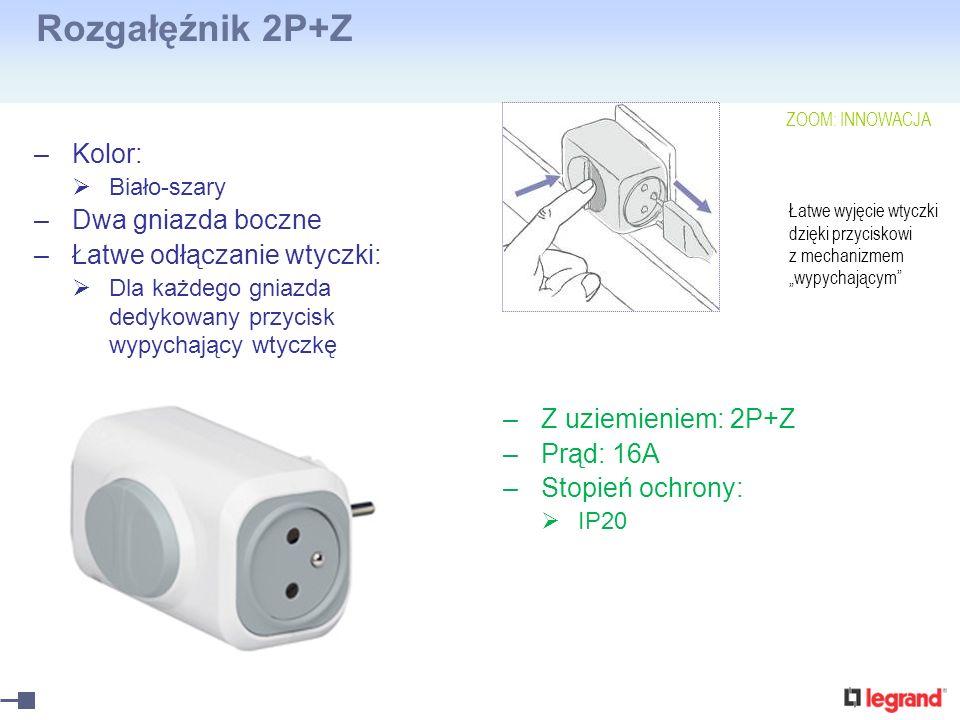 Rozgałęźnik 2P+Z Kolor: Dwa gniazda boczne Łatwe odłączanie wtyczki: