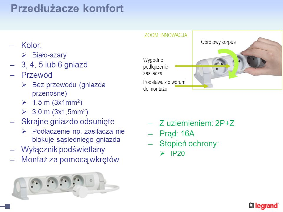 Przedłużacze komfort Kolor: 3, 4, 5 lub 6 gniazd Przewód