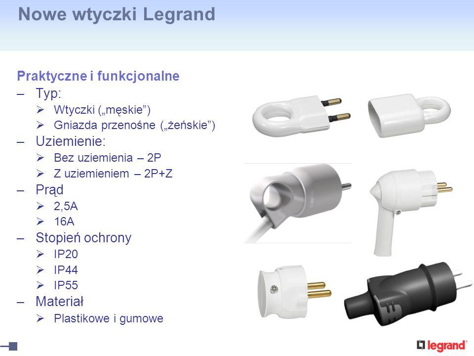 Nowe wtyczki Legrand Praktyczne i funkcjonalne Typ: Uziemienie: Prąd