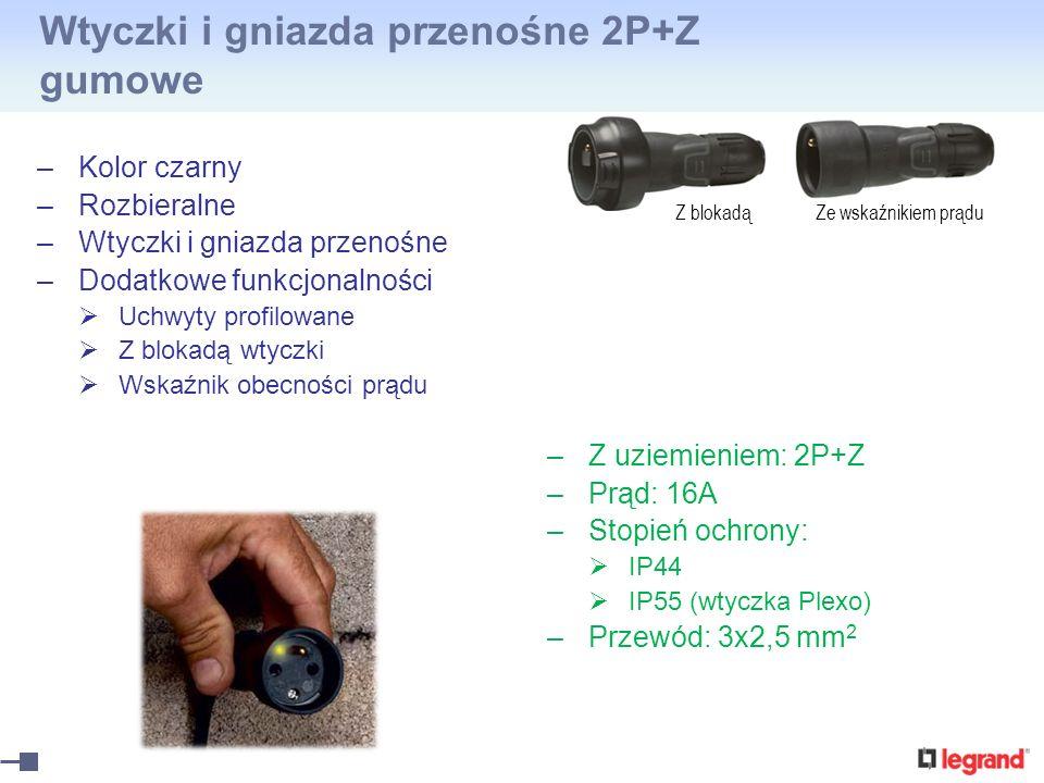 Wtyczki i gniazda przenośne 2P+Z gumowe