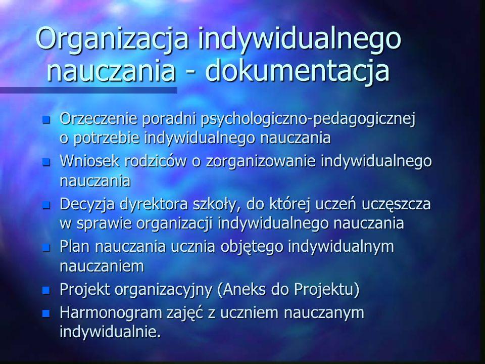 Organizacja indywidualnego nauczania - dokumentacja