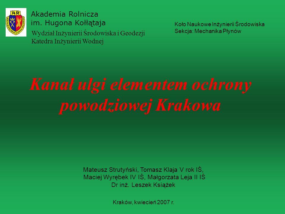Kanał ulgi elementem ochrony powodziowej Krakowa