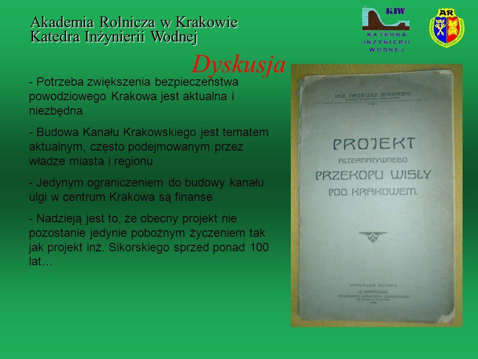 Dyskusja Akademia Rolnicza w Krakowie Katedra Inżynierii Wodnej