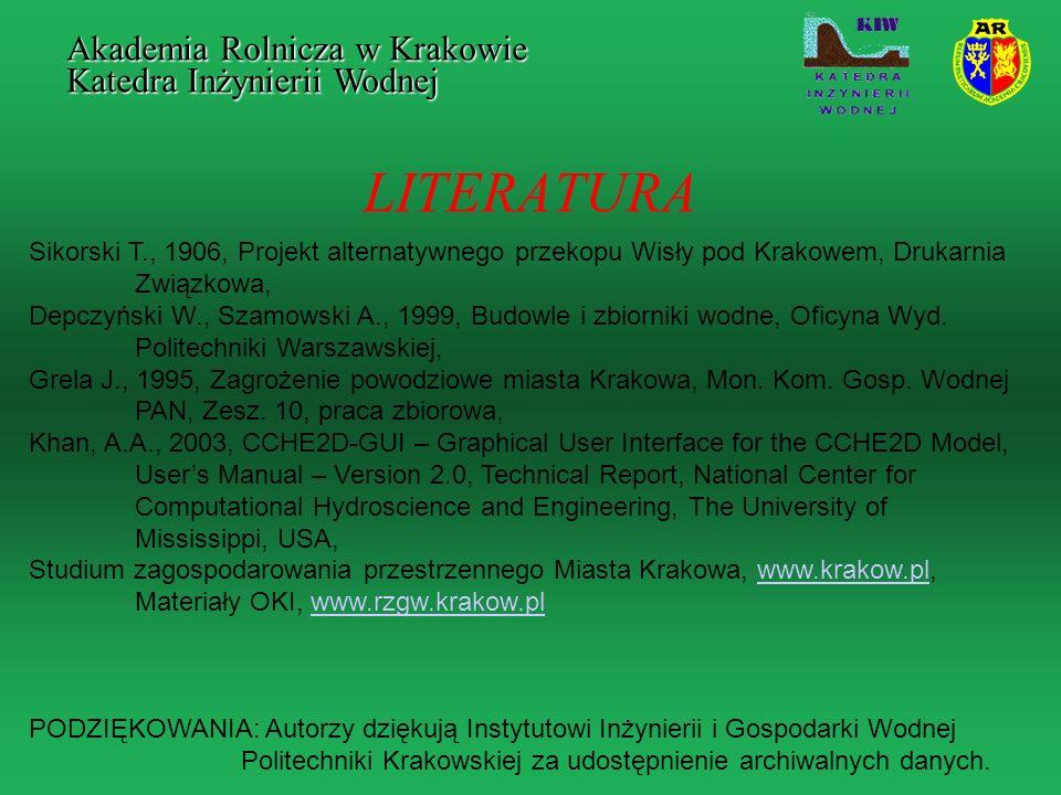 LITERATURA Akademia Rolnicza w Krakowie Katedra Inżynierii Wodnej