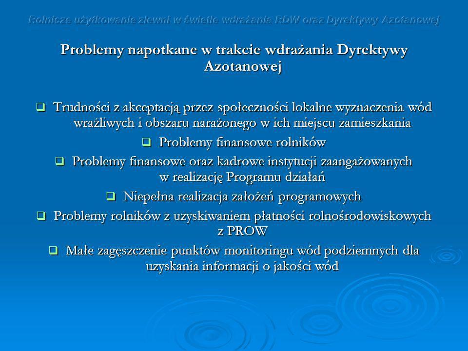 Problemy napotkane w trakcie wdrażania Dyrektywy Azotanowej