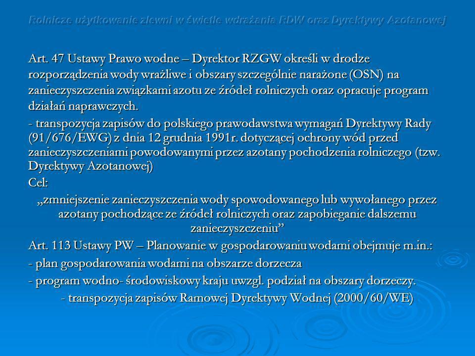 - transpozycja zapisów Ramowej Dyrektywy Wodnej (2000/60/WE)
