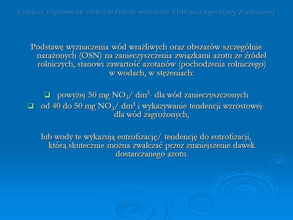 powyżej 50 mg NO3/ dm3- dla wód zanieczyszczonych