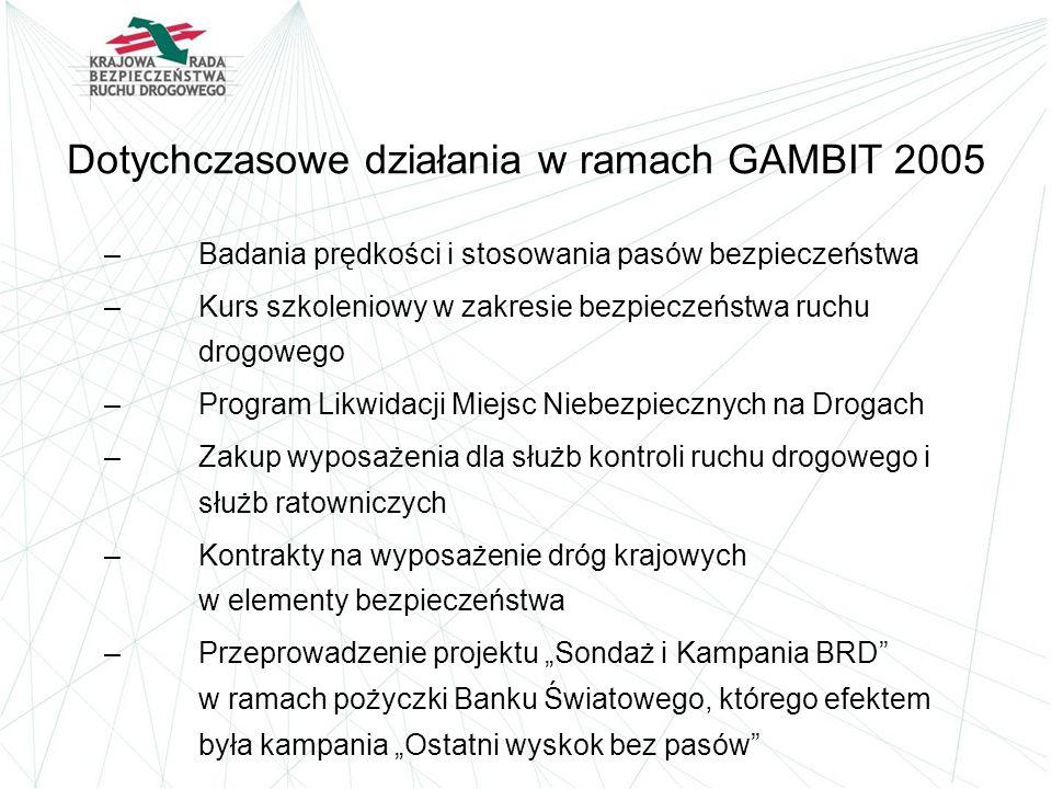 Dotychczasowe działania w ramach GAMBIT 2005