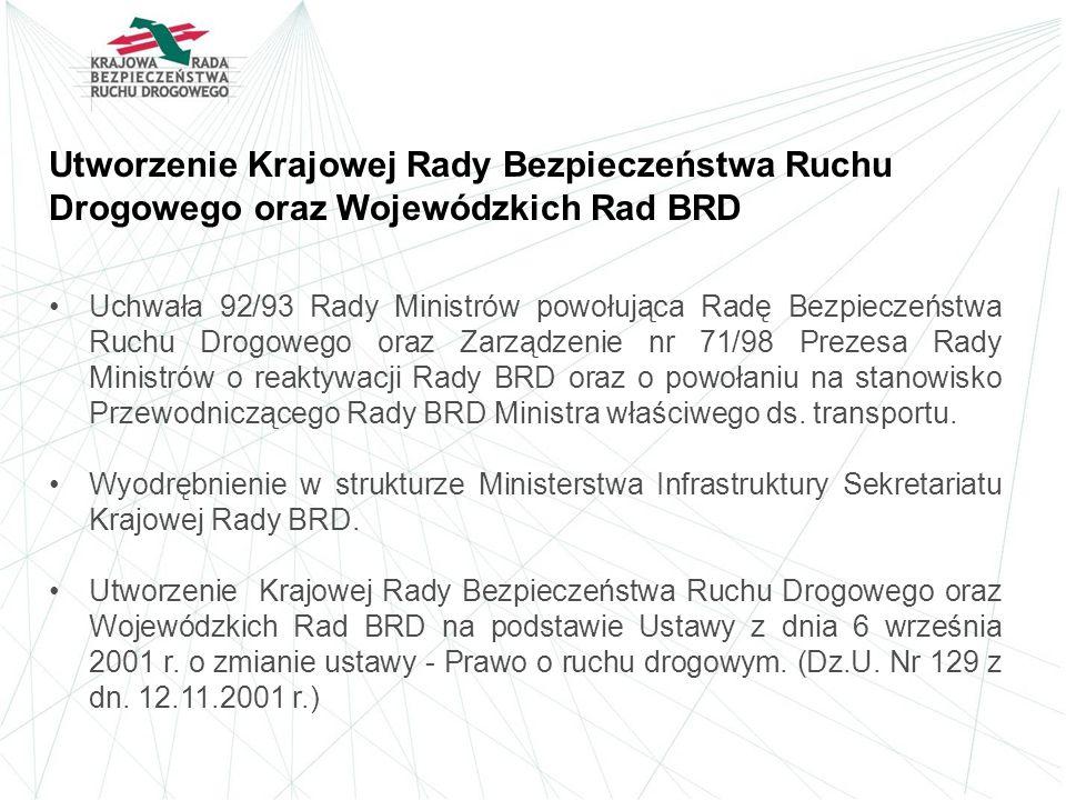 Utworzenie Krajowej Rady Bezpieczeństwa Ruchu Drogowego oraz Wojewódzkich Rad BRD