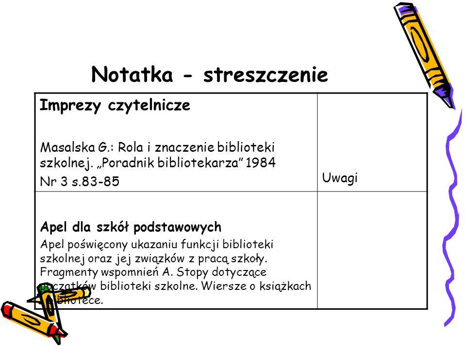 Notatka - streszczenie