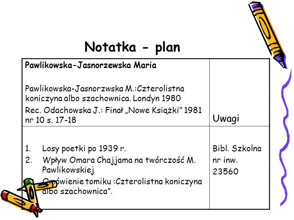 Notatka - plan Uwagi Pawlikowska-Jasnorzewska Maria