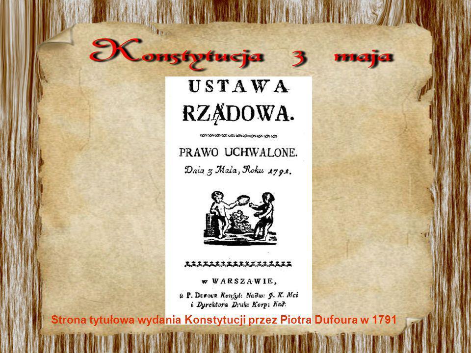 Strona tytułowa wydania Konstytucji przez Piotra Dufoura w 1791