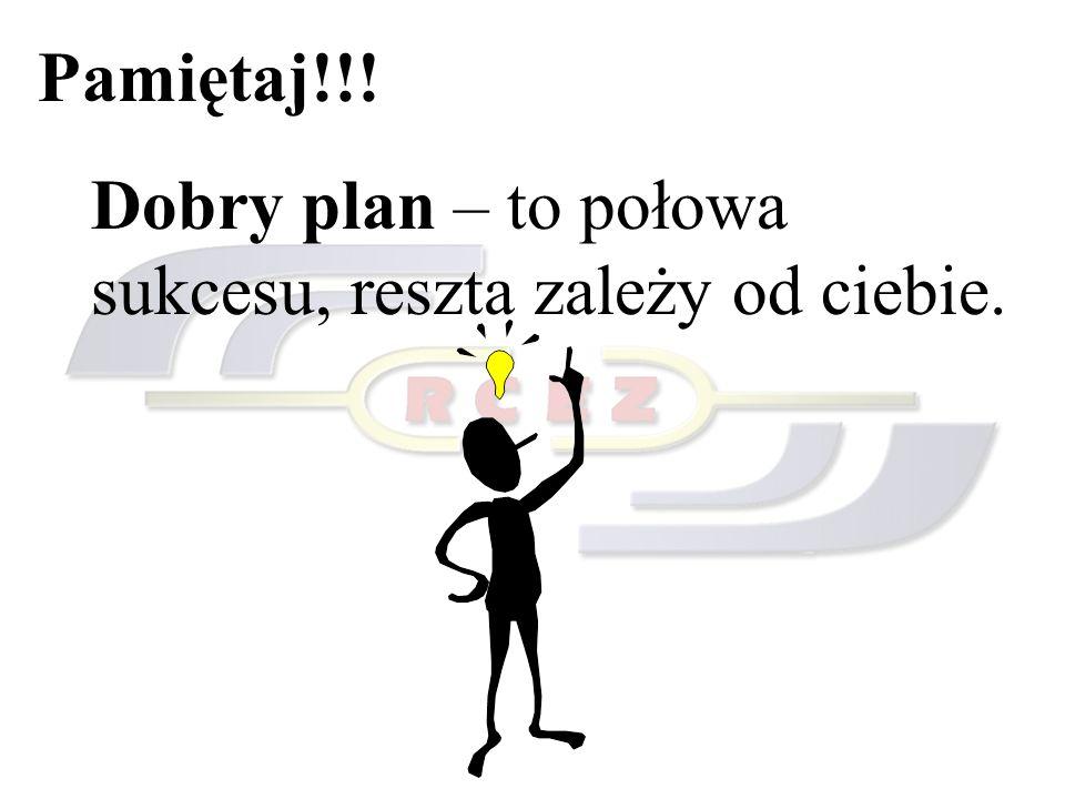Pamiętaj!!! Dobry plan – to połowa sukcesu, reszta zależy od ciebie.