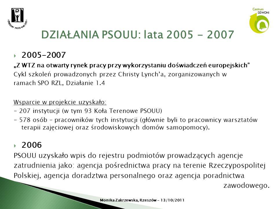 DZIAŁANIA PSOUU: lata 2005 - 2007