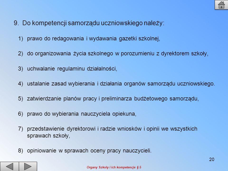 Do kompetencji samorządu uczniowskiego należy: