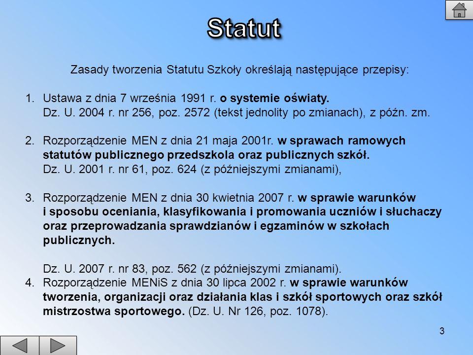 Zasady tworzenia Statutu Szkoły określają następujące przepisy: