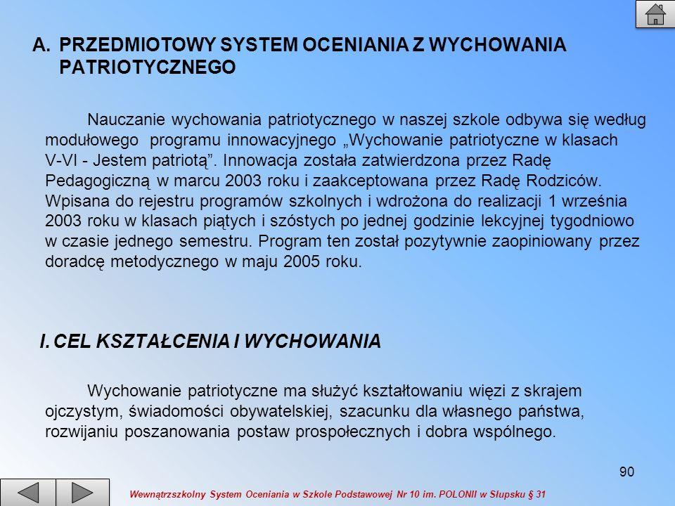 PRZEDMIOTOWY SYSTEM OCENIANIA Z WYCHOWANIA PATRIOTYCZNEGO
