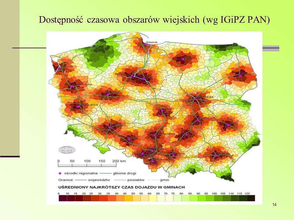 Dostępność czasowa obszarów wiejskich (wg IGiPZ PAN)