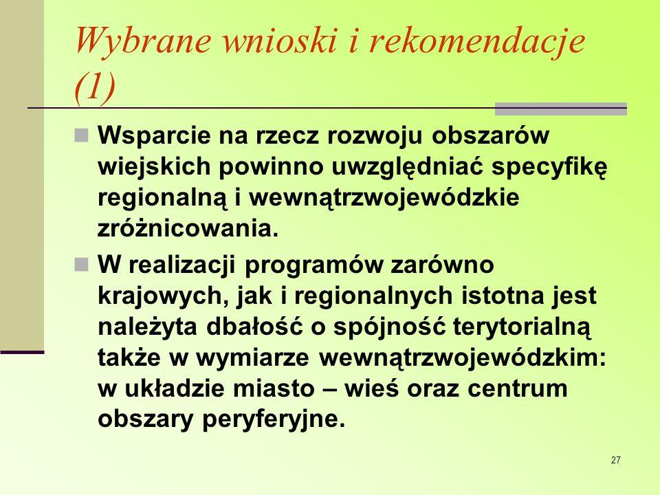 Wybrane wnioski i rekomendacje (1)