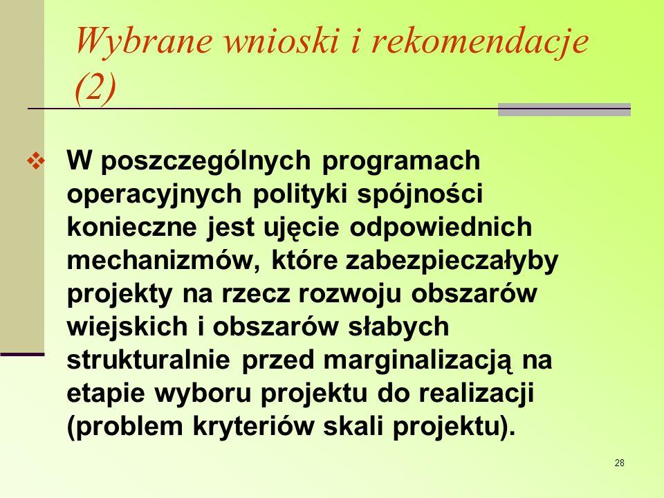 Wybrane wnioski i rekomendacje (2)
