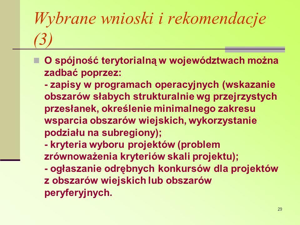 Wybrane wnioski i rekomendacje (3)