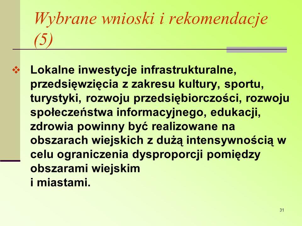 Wybrane wnioski i rekomendacje (5)
