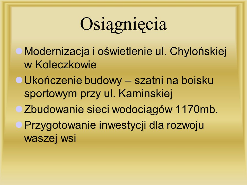 Osiągnięcia Modernizacja i oświetlenie ul. Chylońskiej w Koleczkowie