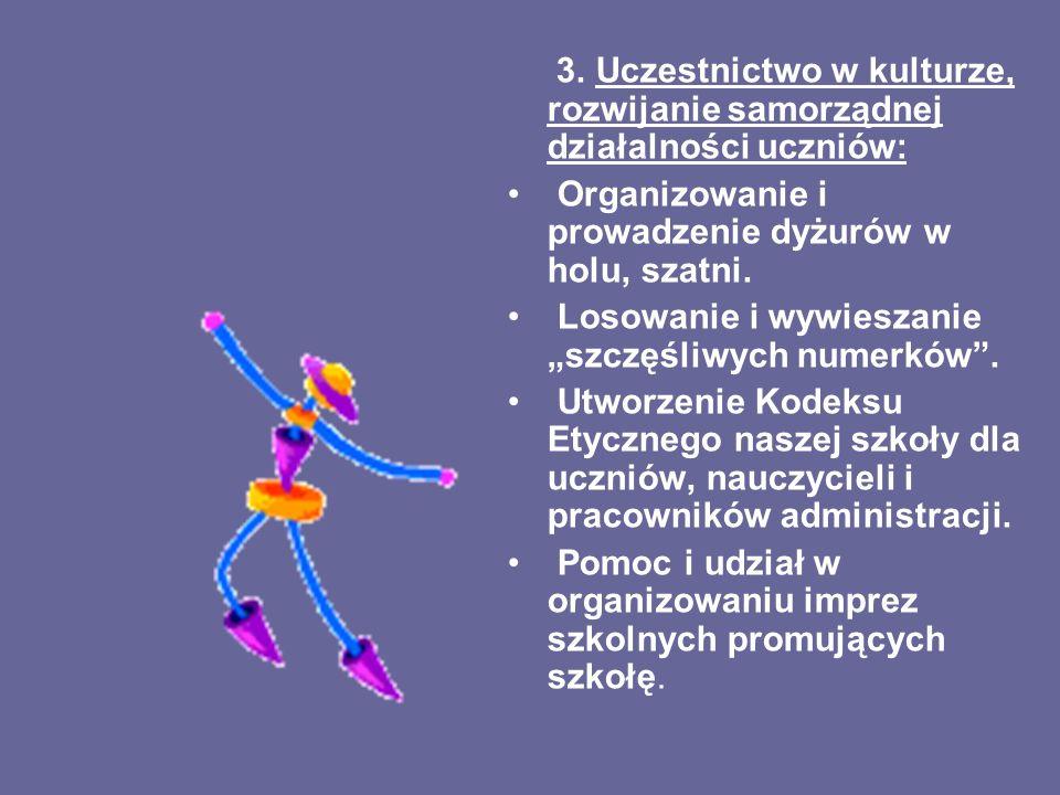 3. Uczestnictwo w kulturze, rozwijanie samorządnej działalności uczniów: