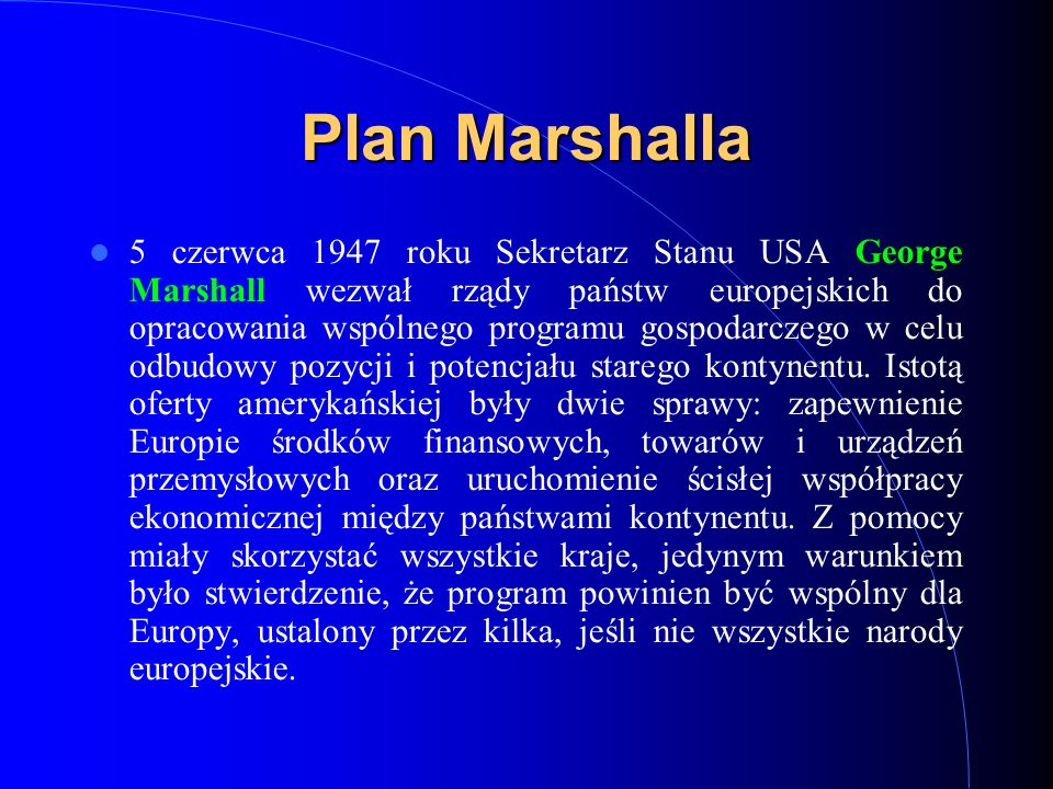 Plan Marshalla
