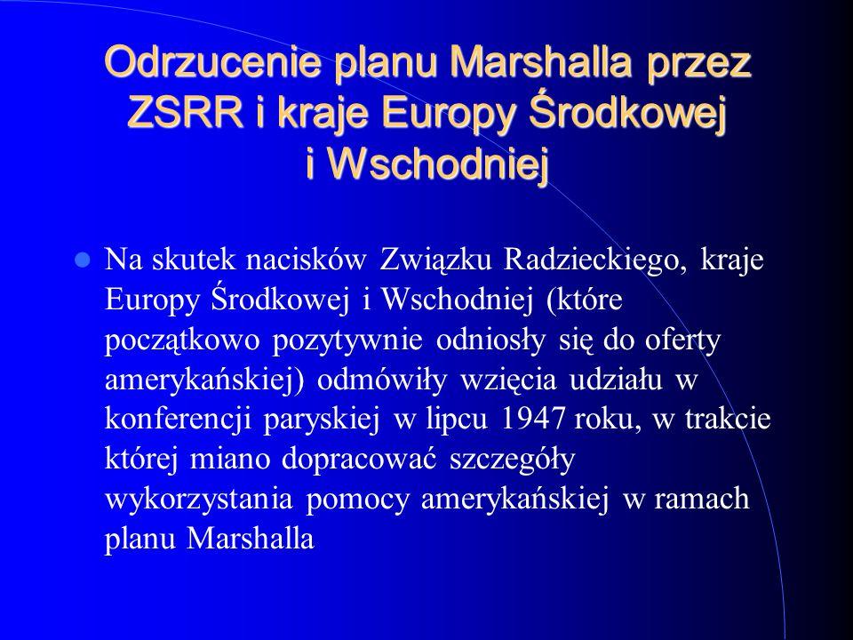 Odrzucenie planu Marshalla przez ZSRR i kraje Europy Środkowej i Wschodniej