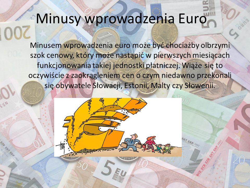 Minusy wprowadzenia Euro