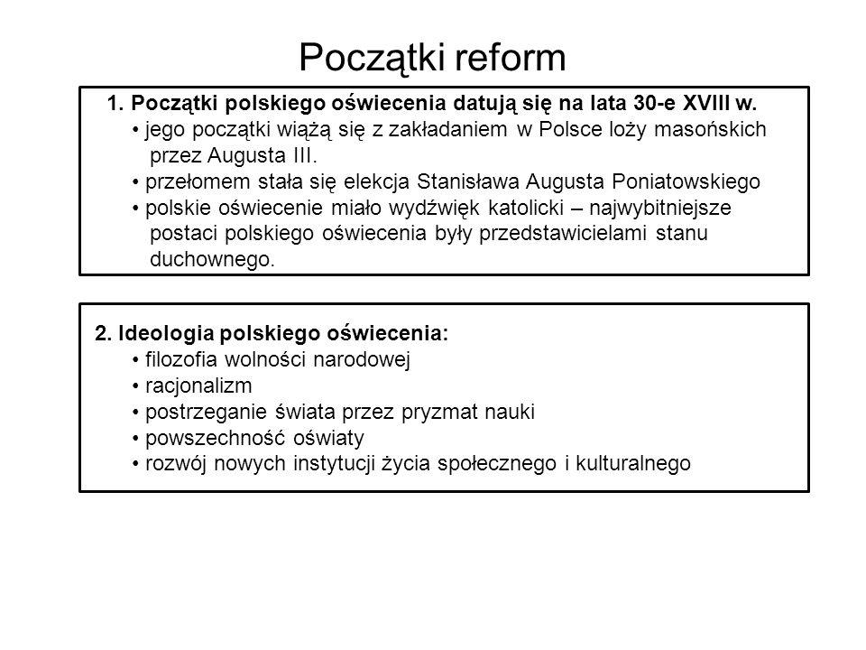 Początki reform 21. Początki polskiego oświecenia datują się na lata 30-e XVIII w. jego początki wiążą się z zakładaniem w Polsce loży masońskich.