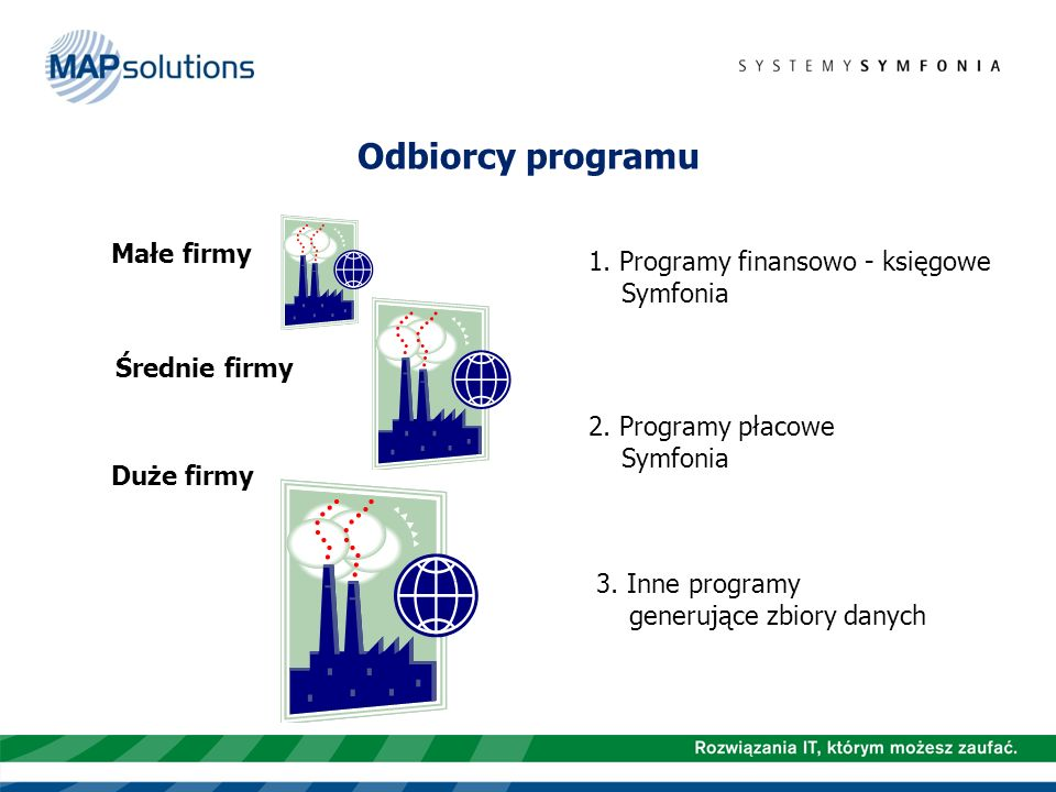 Odbiorcy programu Małe firmy 1. Programy finansowo - księgowe Symfonia
