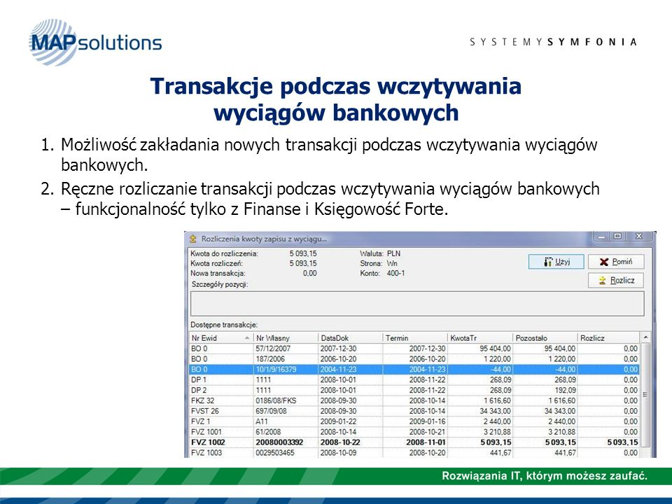 Transakcje podczas wczytywania wyciągów bankowych