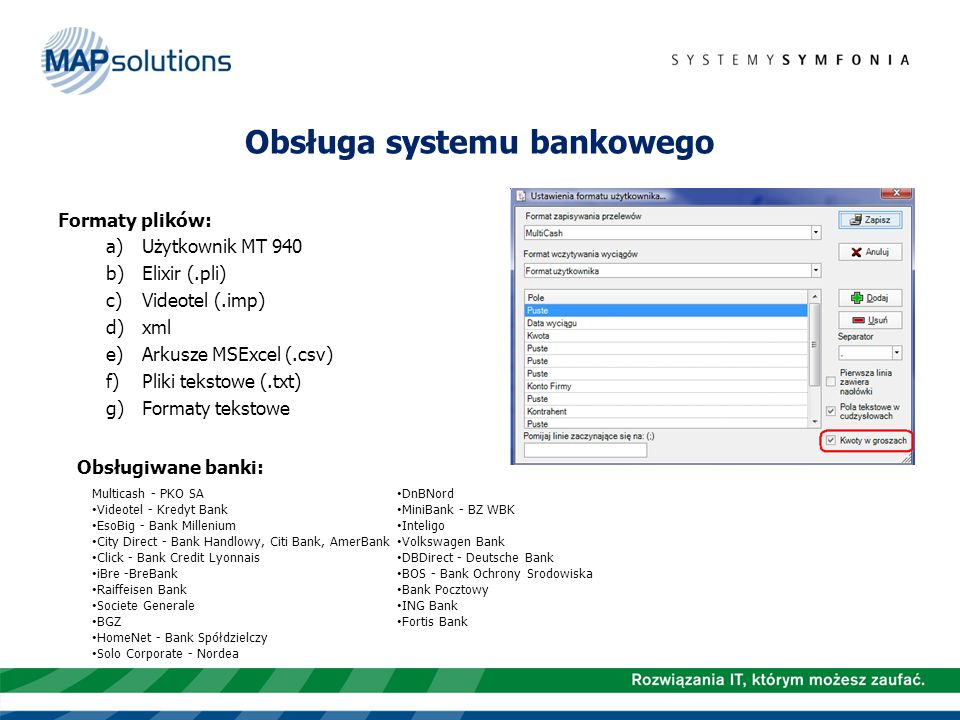 Obsługa systemu bankowego