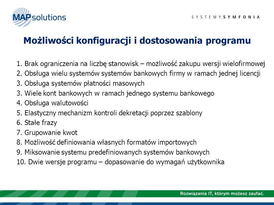 Możliwości konfiguracji i dostosowania programu