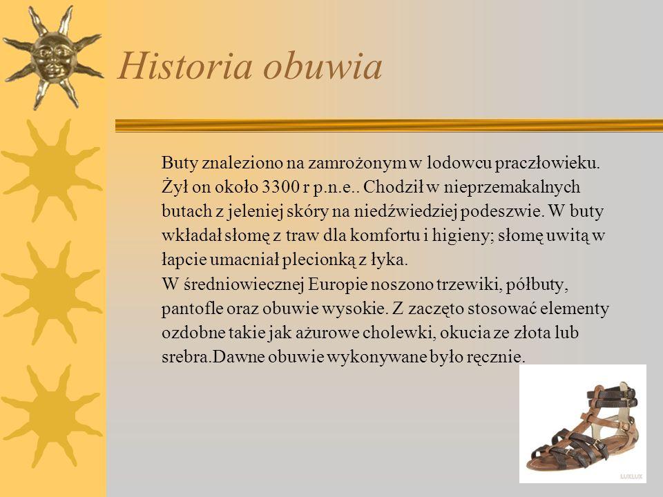 Historia obuwia Buty znaleziono na zamrożonym w lodowcu praczłowieku.