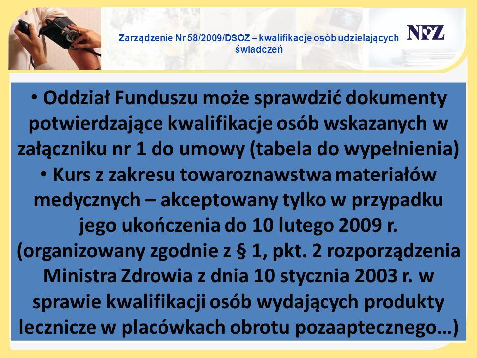 Zarządzenie Nr 58/2009/DSOZ – kwalifikacje osób udzielających świadczeń